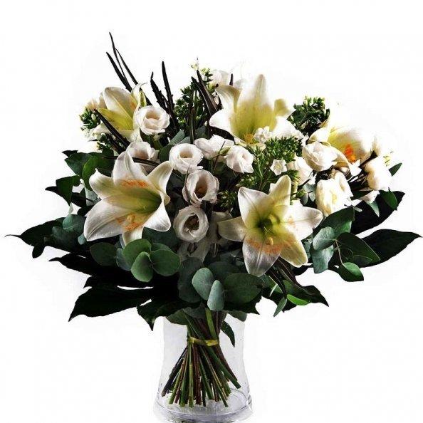 זר פרחים - לבן