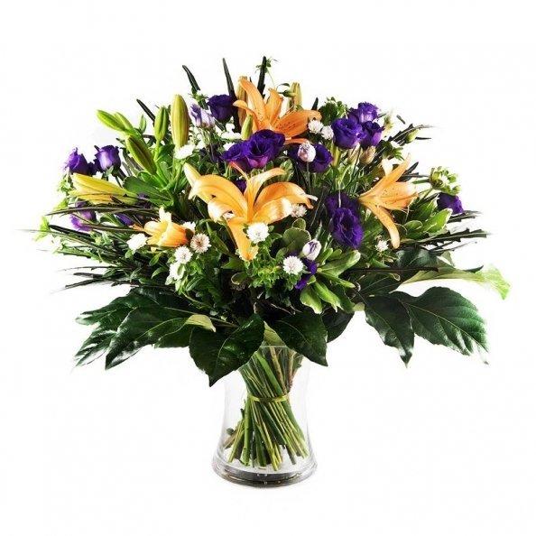 זר פרחים - כתום סגול