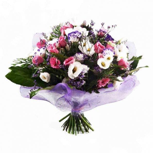 זר פרחים - ורוד לבן